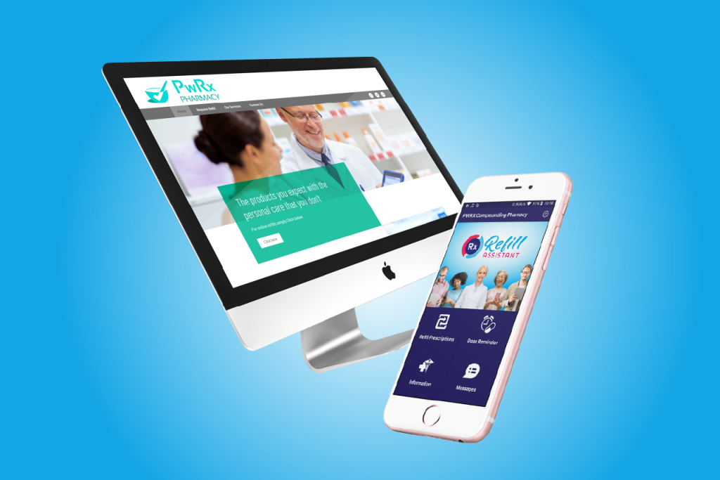 Price Plan Tier one , Refill Assistant branded mobile and a computer screen with Pharmacy website